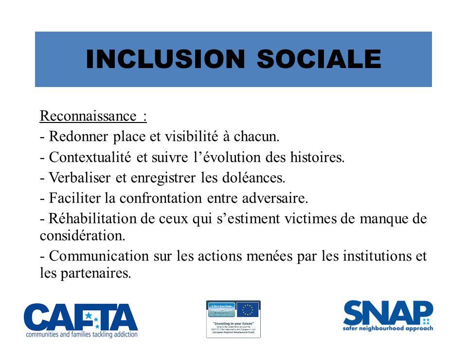 INCLUSION SOCIALE Reconnaissance : - Redonner place et visibilité à chacun.