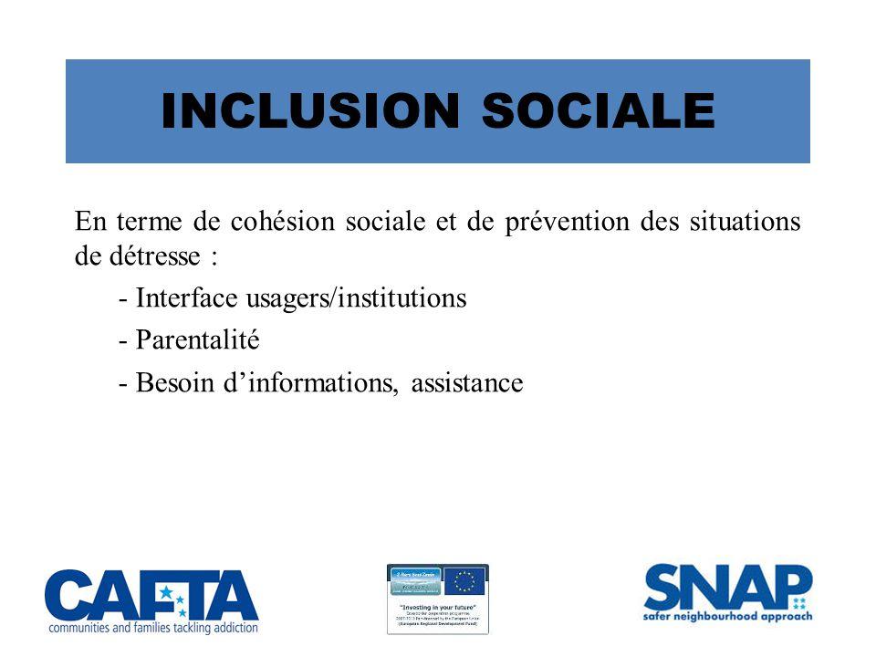 INCLUSION SOCIALE En terme de cohésion sociale et de prévention des situations de détresse : - Interface usagers/institutions - Parentalité - Besoin d'informations, assistance