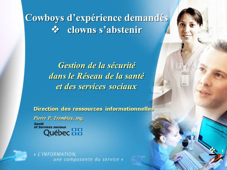   1 Cowboys d'expérience demandés  clowns s'abstenir Gestion de la sécurité dans le Réseau de la santé et des services sociaux Direction des ressources informationnelles Pierre P.