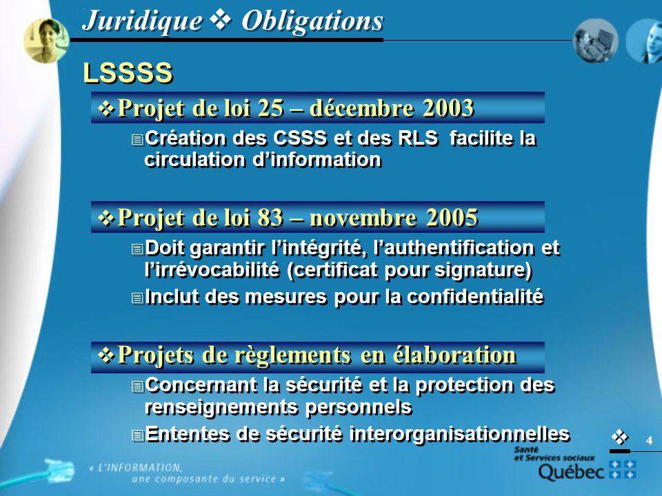   4 LSSSS  Projet de loi 25 – décembre 2003  Création des CSSS et des RLS facilite la circulation d'information  Projet de loi 83 – novembre 2005  Doit garantir l'intégrité, l'authentification et l'irrévocabilité (certificat pour signature)  Inclut des mesures pour la confidentialité  Projets de règlements en élaboration  Concernant la sécurité et la protection des renseignements personnels  Ententes de sécurité interorganisationnelles LSSSS  Projet de loi 25 – décembre 2003  Création des CSSS et des RLS facilite la circulation d'information  Projet de loi 83 – novembre 2005  Doit garantir l'intégrité, l'authentification et l'irrévocabilité (certificat pour signature)  Inclut des mesures pour la confidentialité  Projets de règlements en élaboration  Concernant la sécurité et la protection des renseignements personnels  Ententes de sécurité interorganisationnelles Juridique  Obligations