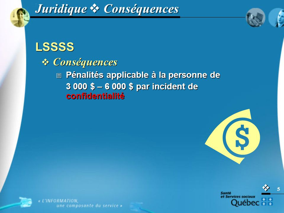   5 LSSSS  Conséquences  Pénalités applicable à la personne de 3 000 $ – 6 000 $ par incident de confidentialité LSSSS  Conséquences  Pénalités applicable à la personne de 3 000 $ – 6 000 $ par incident de confidentialité Juridique  Conséquences