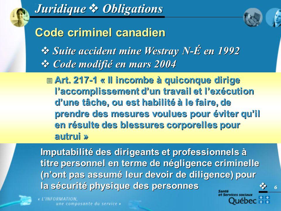   7 Code criminel canadien Relation avec le RSSS .