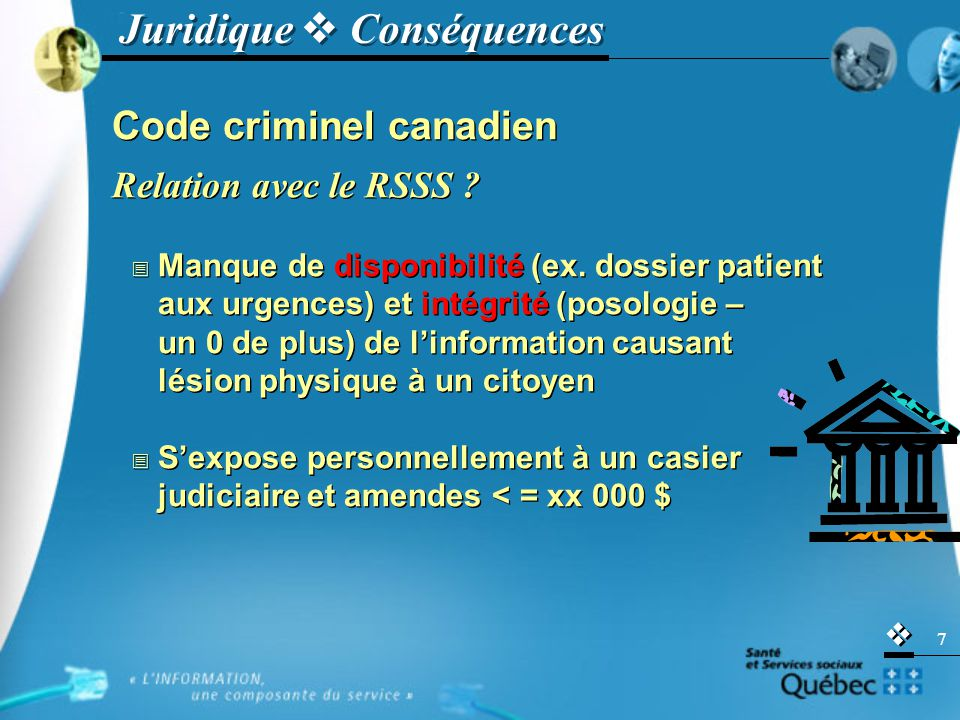   7 Code criminel canadien Relation avec le RSSS .