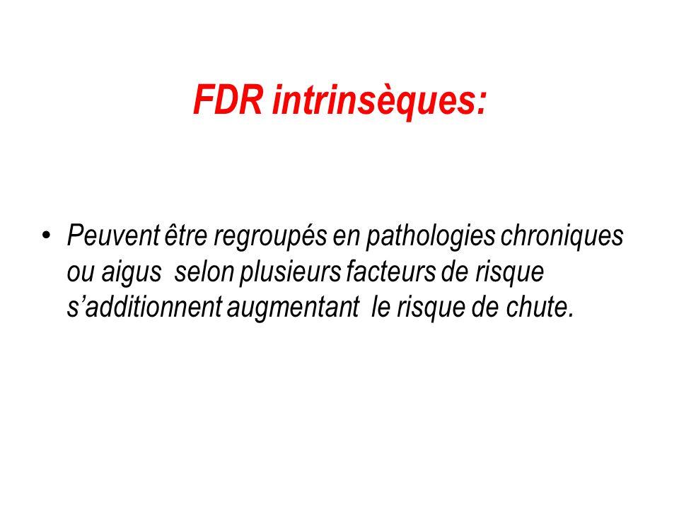 FDR intrinsèques: Peuvent être regroupés en pathologies chroniques ou aigus selon plusieurs facteurs de risque s'additionnent augmentant le risque de