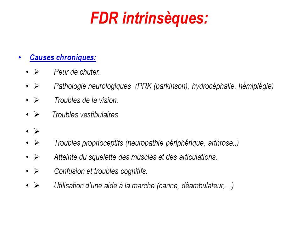 FDR intrinsèques: Causes chroniques:  Peur de chuter.  Pathologie neurologiques (PRK (parkinson), hydrocéphalie, hémiplégie)  Troubles de la vision