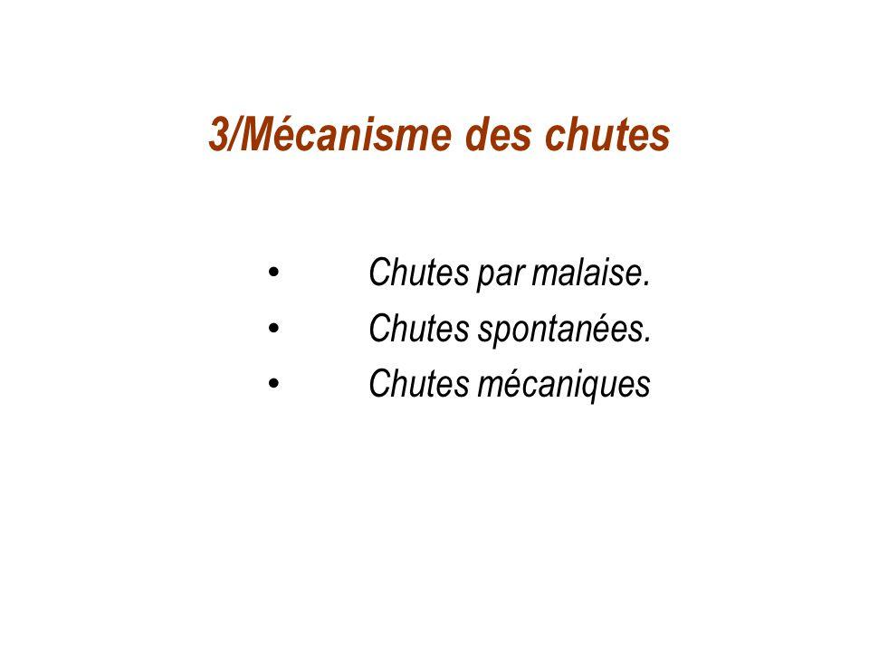 3/Mécanisme des chutes Chutes par malaise. Chutes spontanées. Chutes mécaniques