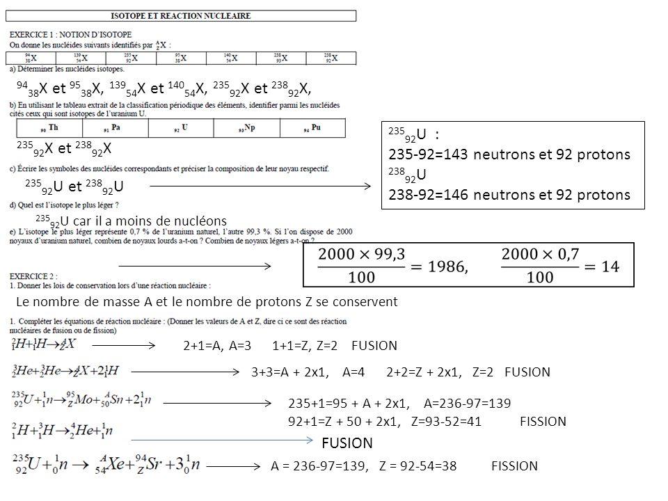 Le nombre de masse A et le nombre de protons Z se conservent 94 38 X et 95 38 X, 139 54 X et 140 54 X, 235 92 X et 238 92 X, 235 92 X et 238 92 X 235