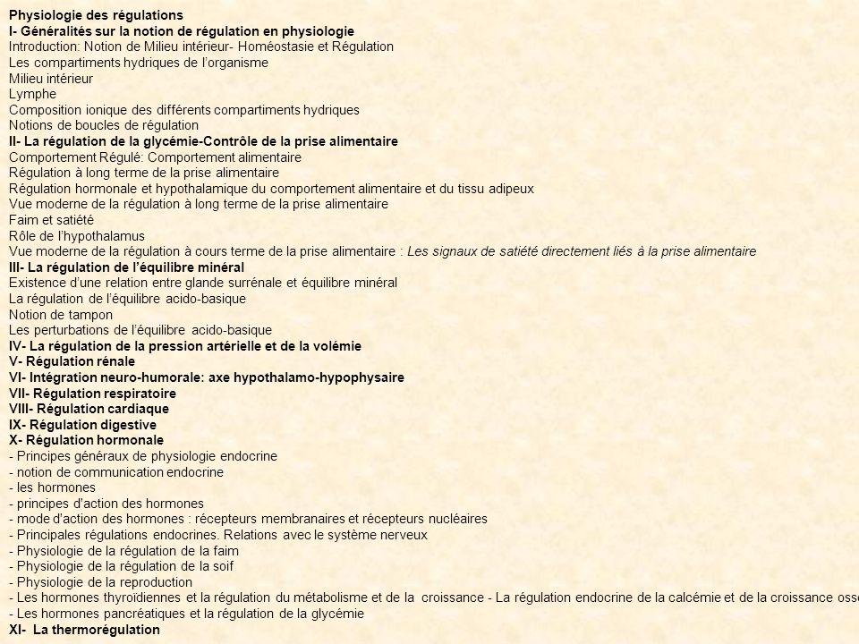 Physiologie des régulations I- Généralités sur la notion de régulation en physiologie Introduction: Notion de Milieu intérieur- Homéostasie et Régulat