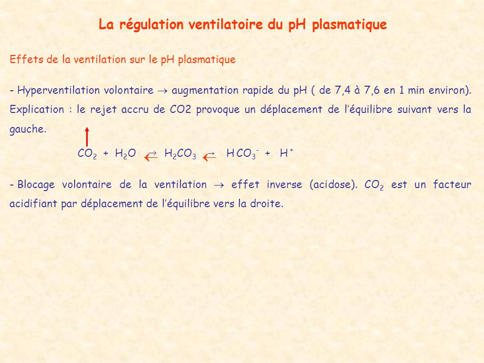 La régulation ventilatoire du pH plasmatique Effets de la ventilation sur le pH plasmatique - Hyperventilation volontaire  augmentation rapide du pH ( de 7,4 à 7,6 en 1 min environ).