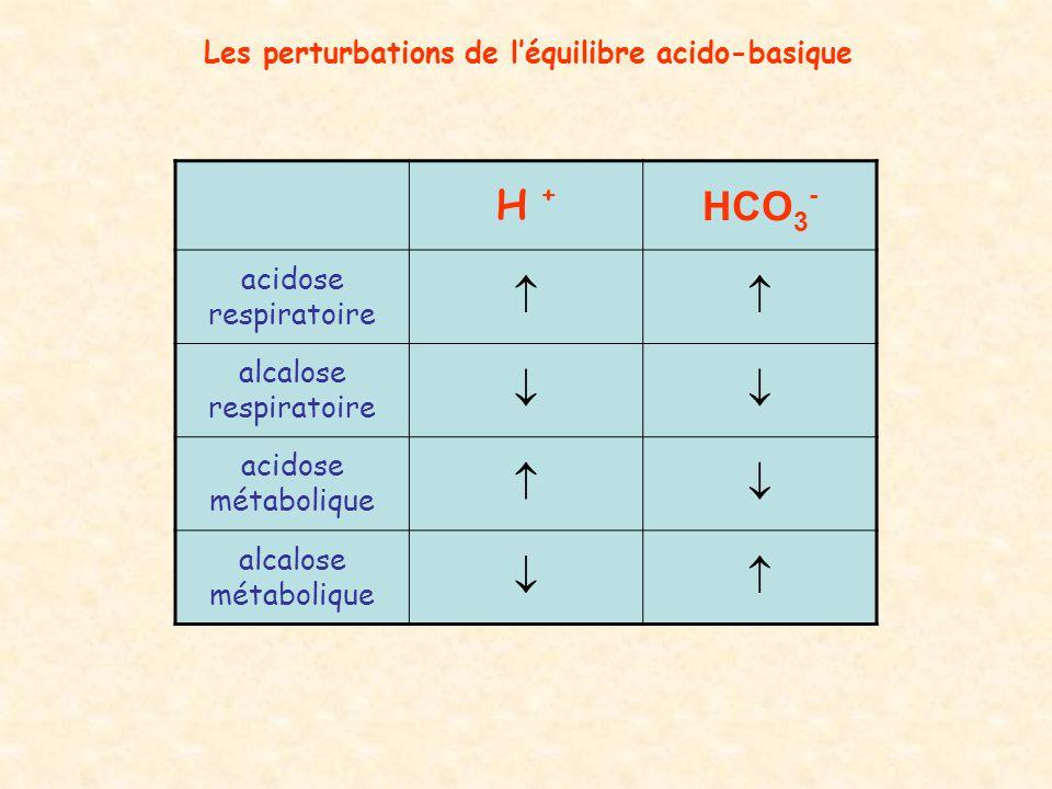 Les perturbations de l'équilibre acido-basique H +H + HCO 3 - acidose respiratoire  alcalose respiratoire  acidose métabolique  alcalose métabol