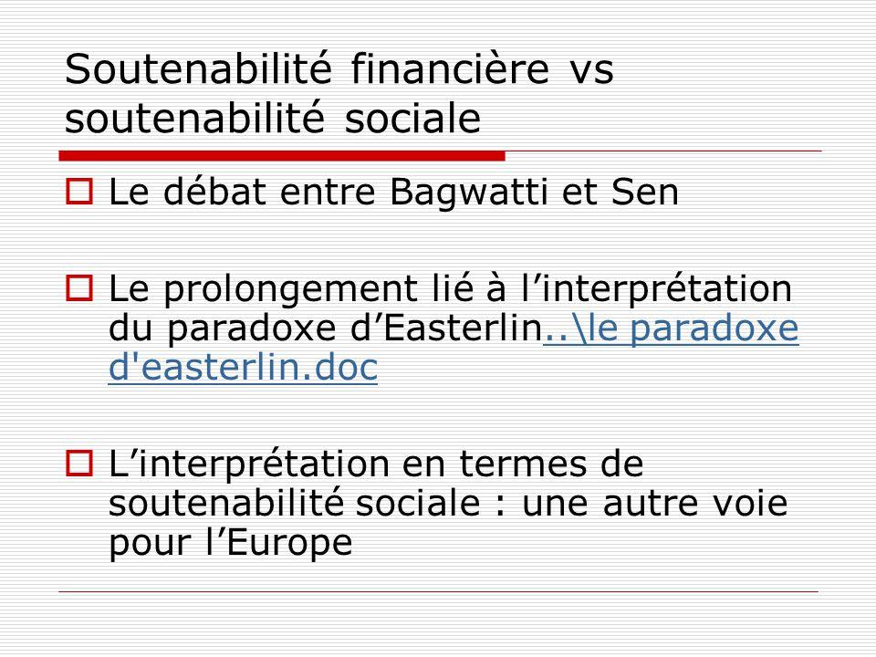 Soutenabilité financière vs soutenabilité sociale  Le débat entre Bagwatti et Sen  Le prolongement lié à l'interprétation du paradoxe d'Easterlin..\