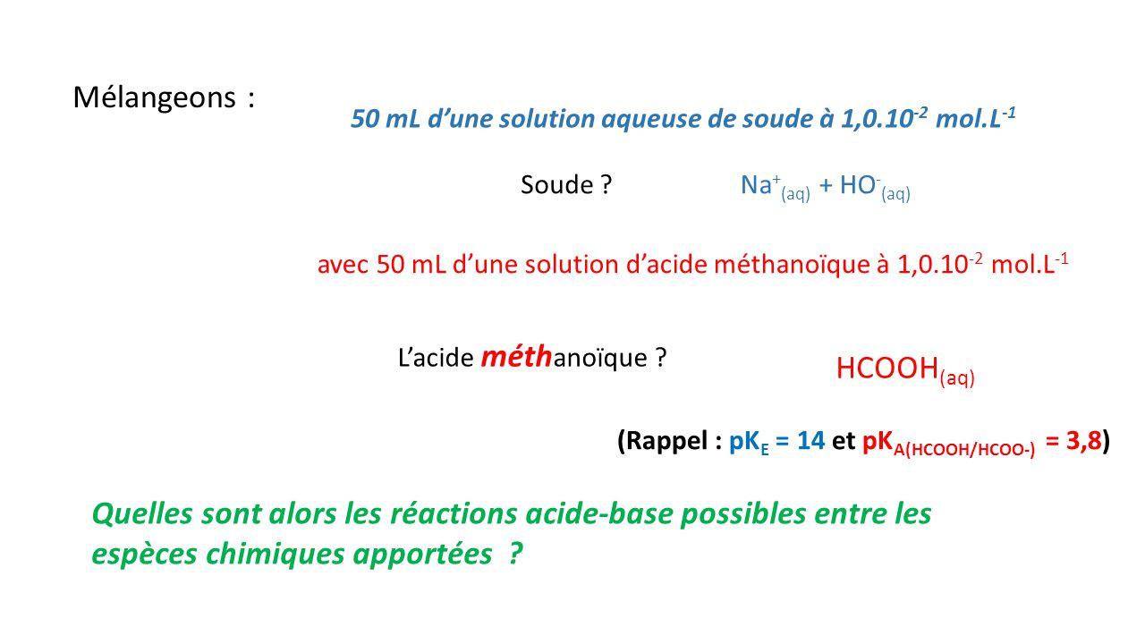 Mélangeons : 50 mL d'une solution aqueuse de soude à 1,0.10 -2 mol.L -1 Soude ?Na + (aq) + HO - (aq) avec 50 mL d'une solution d'acide méthanoïque à 1,0.10 -2 mol.L -1 HCOOH (aq) L'acide méth anoïque .