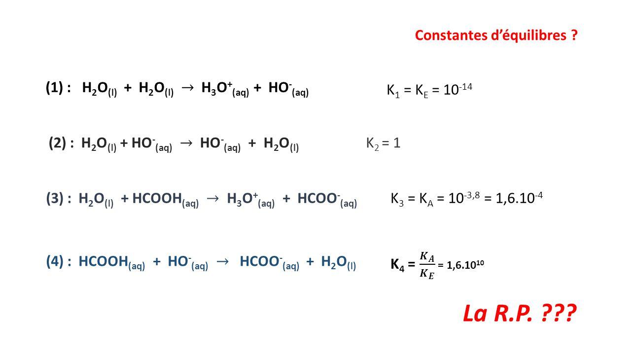 Constantes d'équilibres ? K 1 = K E = 10 -14 K 2 = 1 K 3 = K A = 10 -3,8 = 1,6.10 -4 La R.P. ???