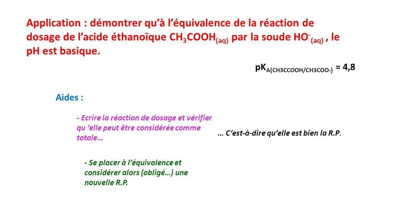 Application : démontrer qu'à l'équivalence de la réaction de dosage de l'acide éthanoïque CH 3 COOH (aq) par la soude HO - (aq), le pH est basique.