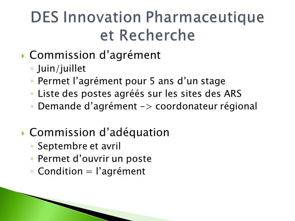  Commission d'agrément ◦ Juin/juillet ◦ Permet l'agrément pour 5 ans d'un stage ◦ Liste des postes agréés sur les sites des ARS ◦ Demande d'agrément