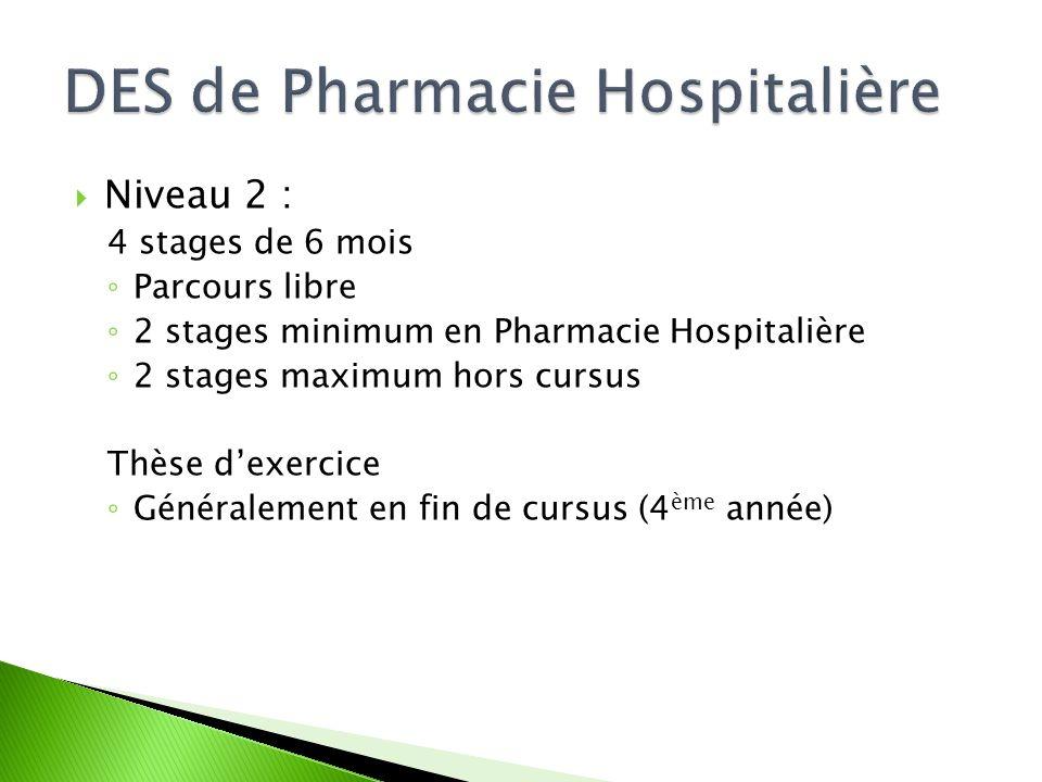  Niveau 2 : 4 stages de 6 mois ◦ Parcours libre ◦ 2 stages minimum en Pharmacie Hospitalière ◦ 2 stages maximum hors cursus Thèse d'exercice ◦ Généra