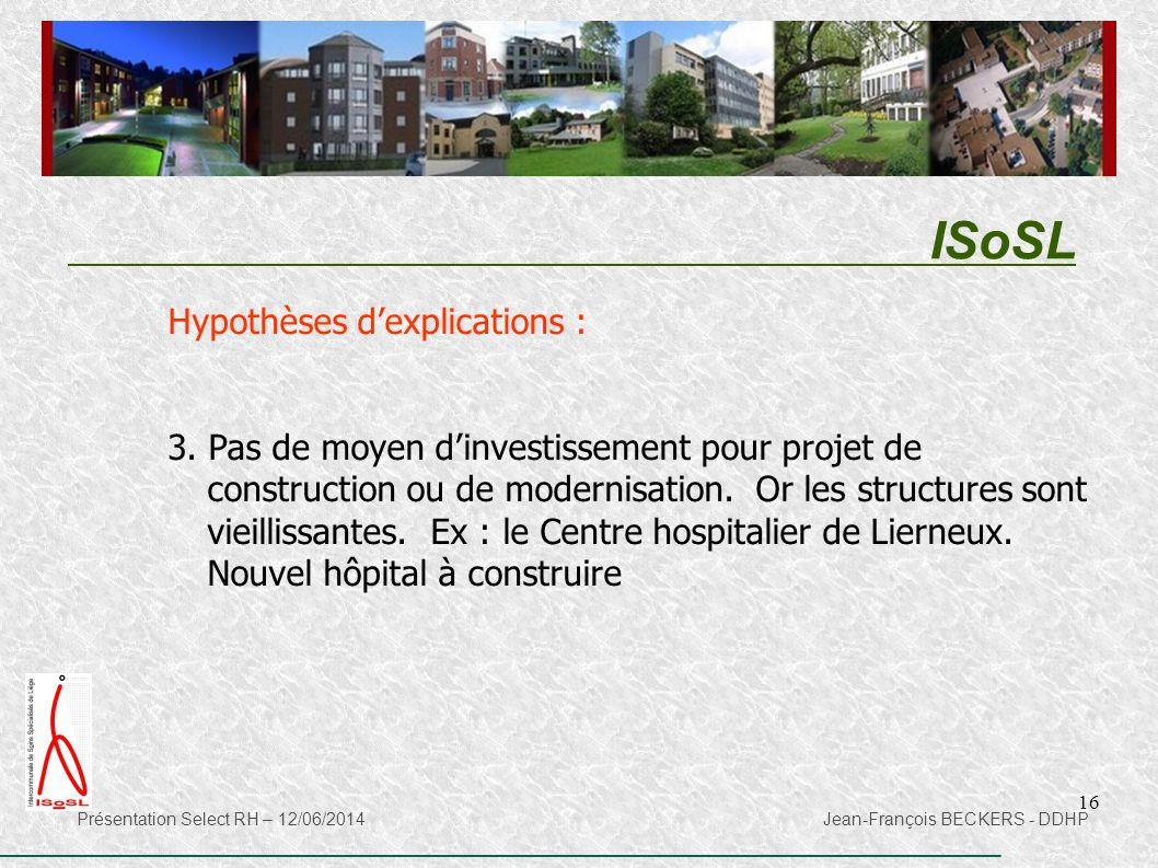 16 ISoSL Présentation Select RH – 12/06/2014 Jean-François BECKERS - DDHP Hypothèses d'explications : 3. Pas de moyen d'investissement pour projet de