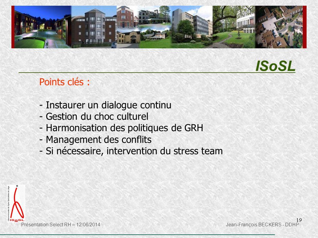 19 ISoSL Présentation Select RH – 12/06/2014 Jean-François BECKERS - DDHP Points clés : - Instaurer un dialogue continu - Gestion du choc culturel - H
