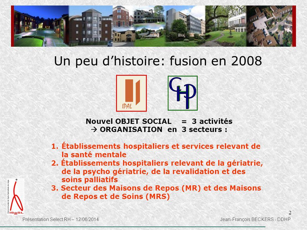 2 Un peu d'histoire: fusion en 2008 Nouvel OBJET SOCIAL = 3 activités  ORGANISATION en 3 secteurs : 1.Établissements hospitaliers et services relevan