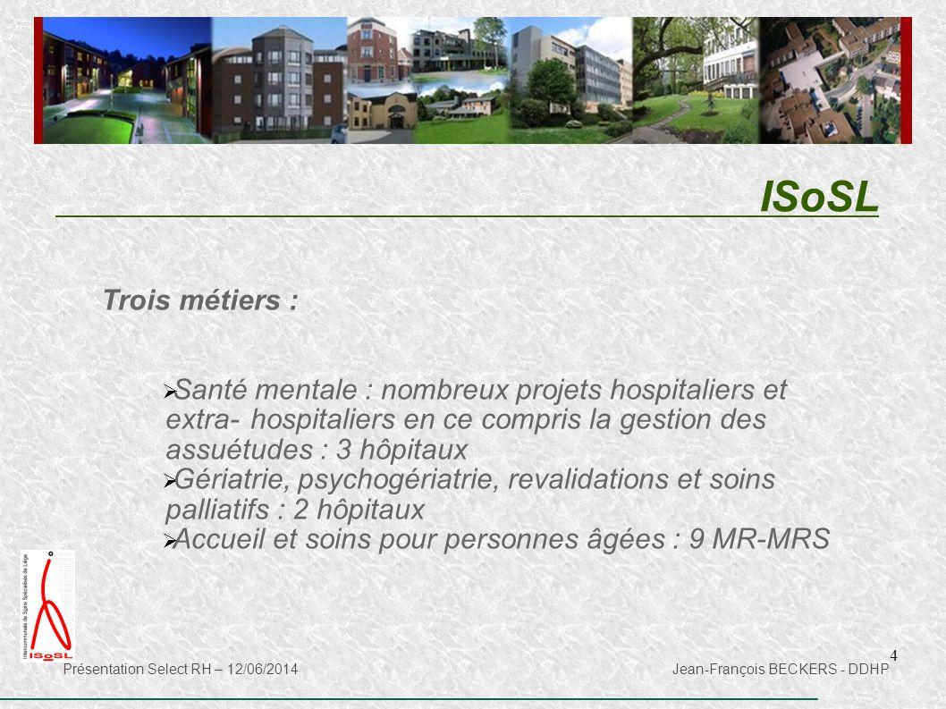 4 Trois métiers :  Santé mentale : nombreux projets hospitaliers et extra-hospitaliers en ce compris la gestion des assuétudes : 3 hôpitaux  Gériatr
