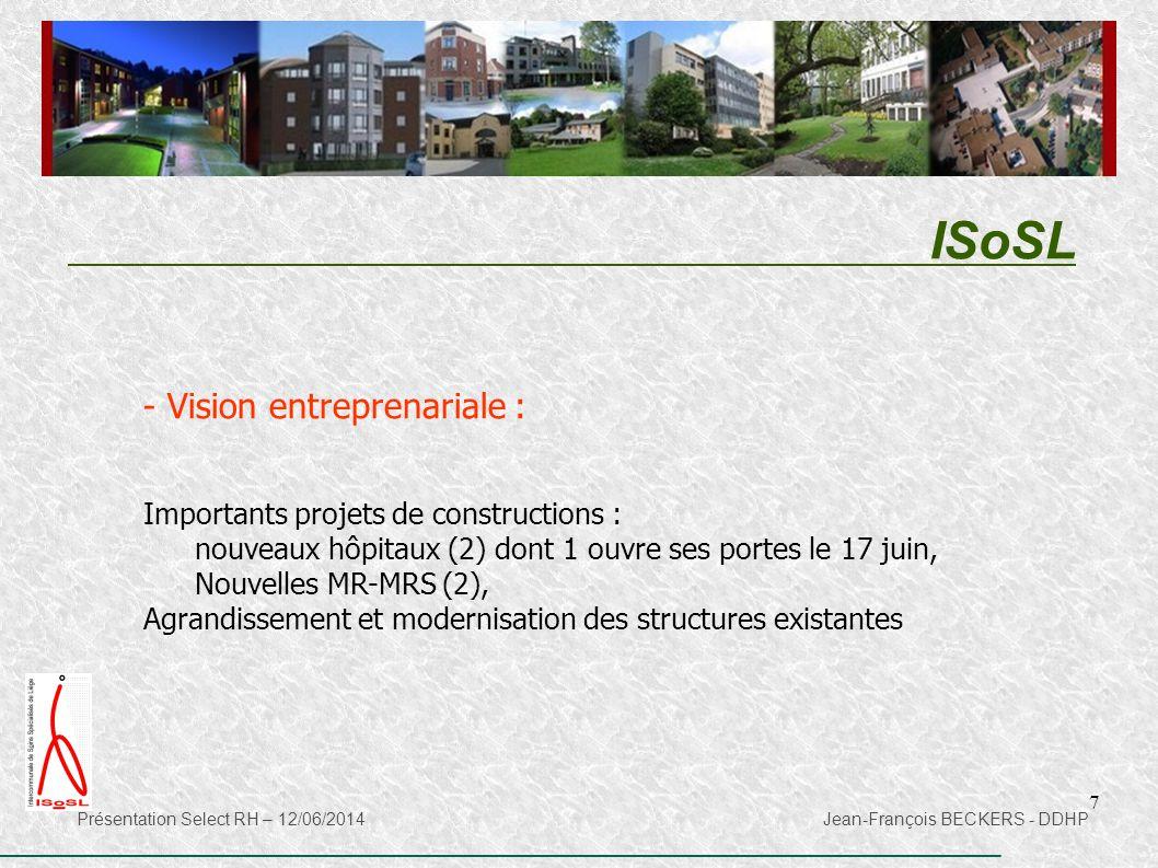 7 ISoSL Présentation Select RH – 12/06/2014 Jean-François BECKERS - DDHP - Vision entreprenariale : Importants projets de constructions : nouveaux hôp