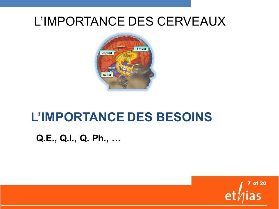 7of 20 L'IMPORTANCE DES CERVEAUX L'IMPORTANCE DES BESOINS Q.E., Q.I., Q. Ph., …