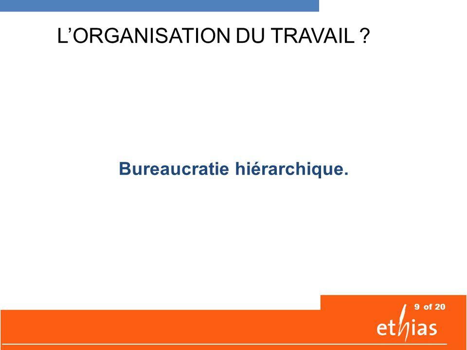 9of 20 L'ORGANISATION DU TRAVAIL Bureaucratie hiérarchique.