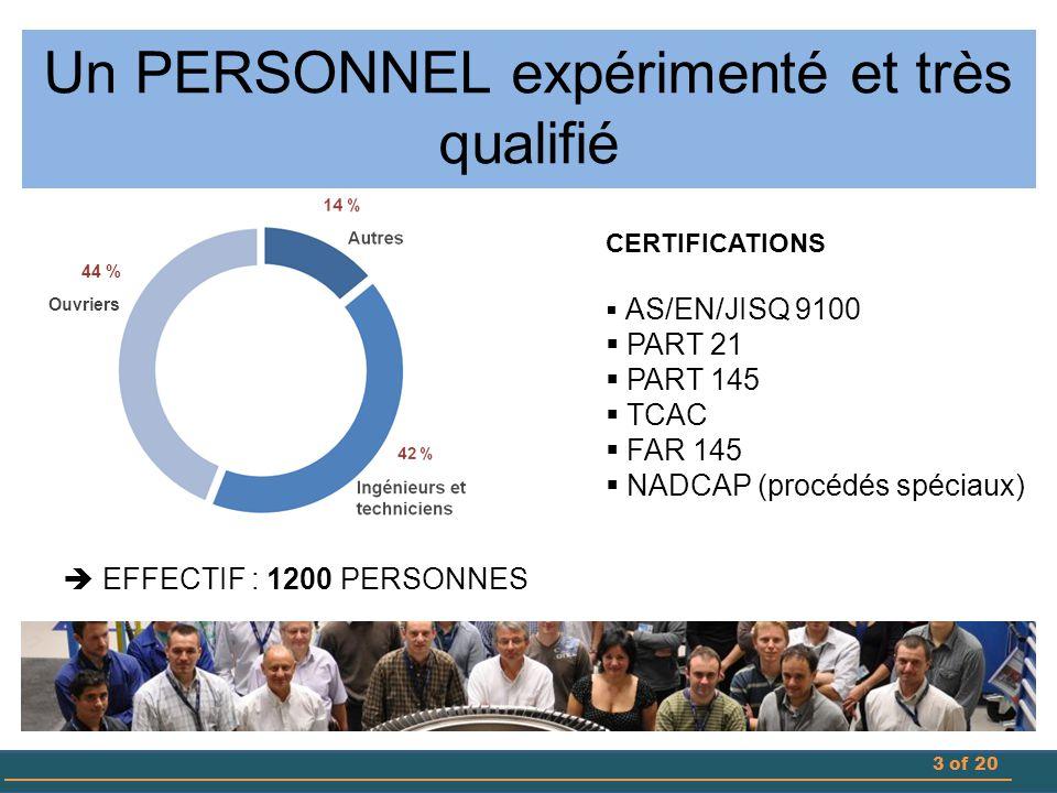 3 Un PERSONNEL expérimenté et très qualifié CERTIFICATIONS  AS/EN/JISQ 9100  PART 21  PART 145  TCAC  FAR 145  NADCAP (procédés spéciaux)  EFFECTIF : 1200 PERSONNES 44 % Ouvriers
