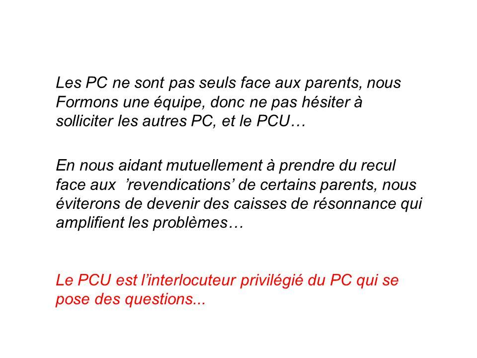 Les PC ne sont pas seuls face aux parents, nous Formons une équipe, donc ne pas hésiter à solliciter les autres PC, et le PCU… En nous aidant mutuellement à prendre du recul face aux 'revendications' de certains parents, nous éviterons de devenir des caisses de résonnance qui amplifient les problèmes… Le PCU est l'interlocuteur privilégié du PC qui se pose des questions...