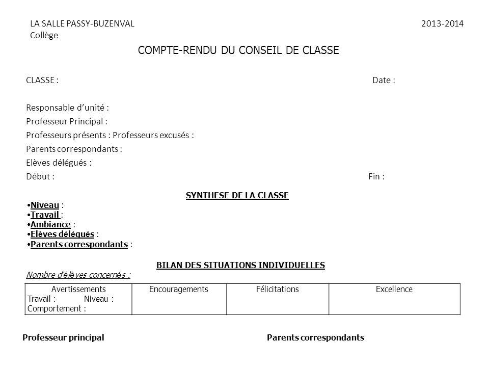 LA SALLE PASSY-BUZENVAL2013-2014 Collège CLASSE : Date : Responsable d'unité : Professeur Principal : Professeurs présents : Professeurs excusés : Par