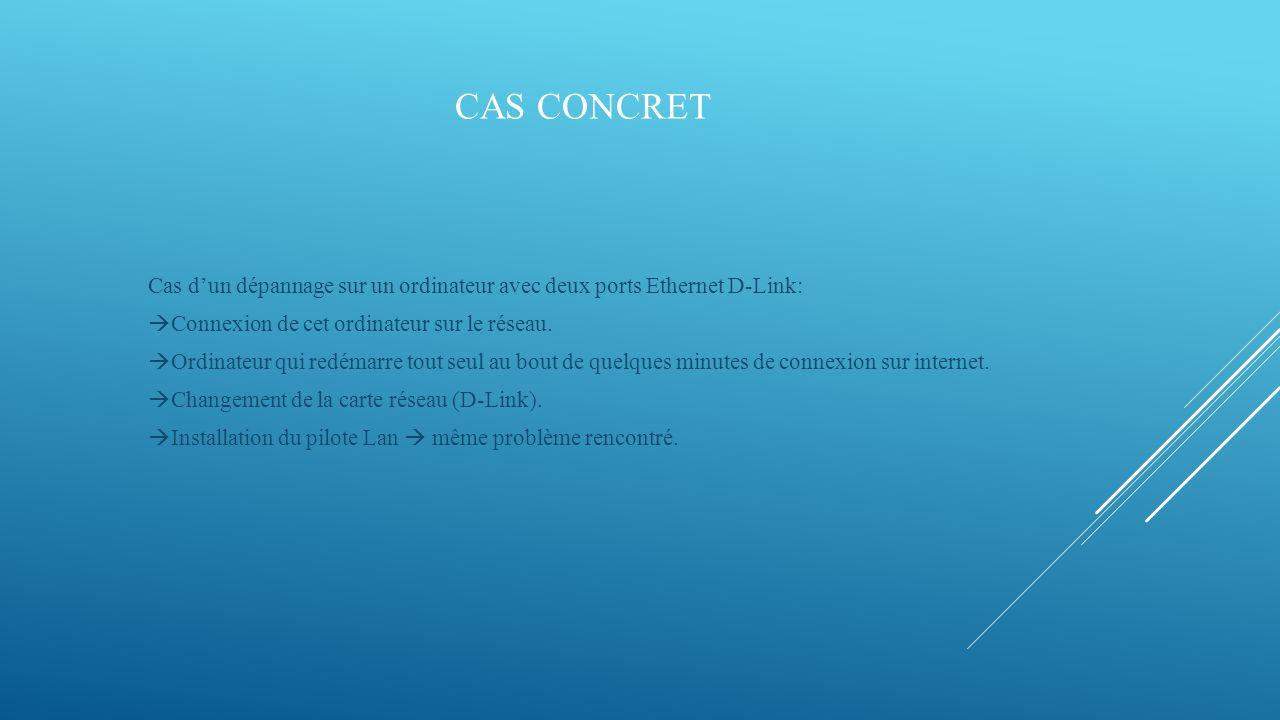 CAS CONCRET SUITE Raisonnement:  Contrôle température du processeur  Peut être la cause des redémarrages.