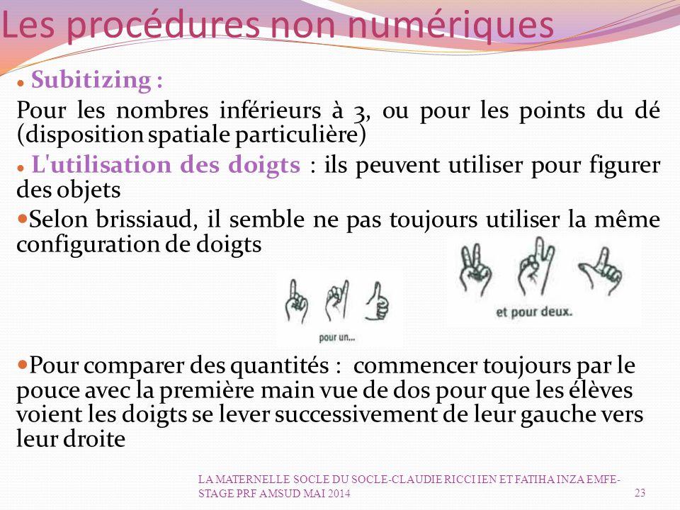 Les procédures non numériques Subitizing : Pour les nombres inférieurs à 3, ou pour les points du dé (disposition spatiale particulière) L utilisation des doigts : ils peuvent utiliser pour figurer des objets Selon brissiaud, il semble ne pas toujours utiliser la même configuration de doigts Pour comparer des quantités : commencer toujours par le pouce avec la première main vue de dos pour que les élèves voient les doigts se lever successivement de leur gauche vers leur droite 23 LA MATERNELLE SOCLE DU SOCLE-CLAUDIE RICCI IEN ET FATIHA INZA EMFE- STAGE PRF AMSUD MAI 2014