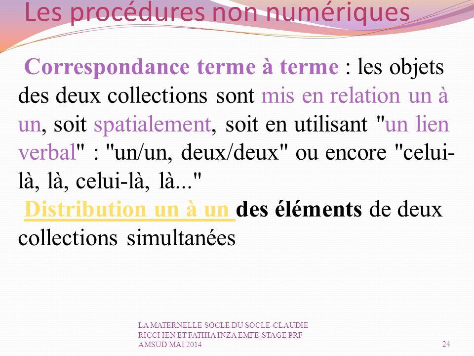 Les procédures non numériques Correspondance terme à terme : les objets des deux collections sont mis en relation un à un, soit spatialement, soit en utilisant un lien verbal : un/un, deux/deux ou encore celui- là, là, celui-là, là... Distribution un à un des éléments de deux collections simultanéesDistribution un à un 24 LA MATERNELLE SOCLE DU SOCLE-CLAUDIE RICCI IEN ET FATIHA INZA EMFE-STAGE PRF AMSUD MAI 2014