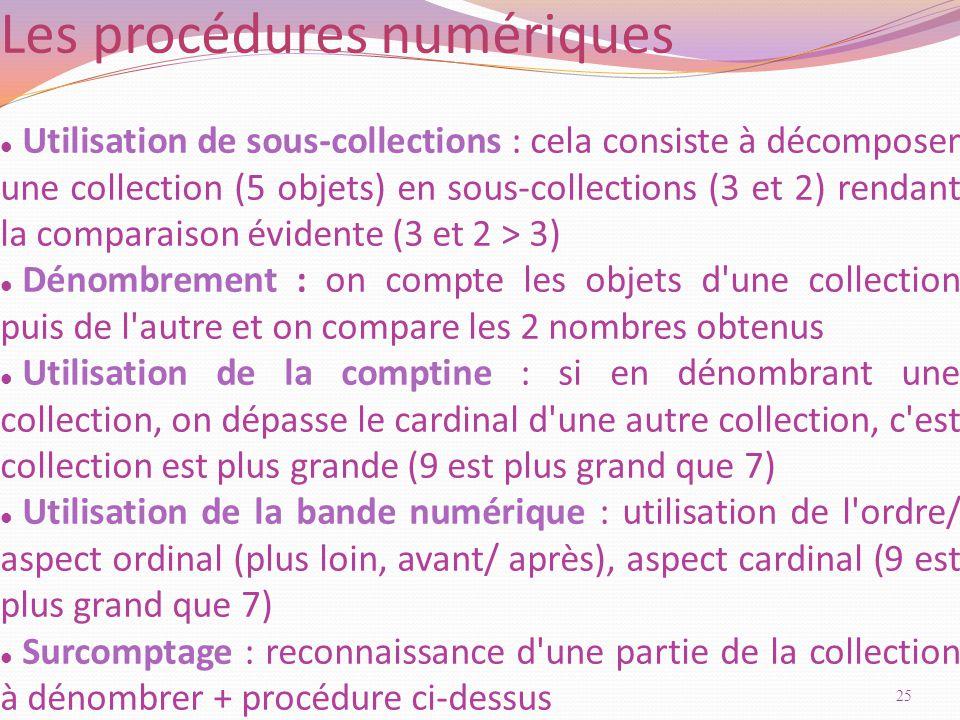 Utilisation de sous-collections : cela consiste à décomposer une collection (5 objets) en sous-collections (3 et 2) rendant la comparaison évidente (3 et 2 > 3) Dénombrement : on compte les objets d une collection puis de l autre et on compare les 2 nombres obtenus Utilisation de la comptine : si en dénombrant une collection, on dépasse le cardinal d une autre collection, c est collection est plus grande (9 est plus grand que 7) Utilisation de la bande numérique : utilisation de l ordre/ aspect ordinal (plus loin, avant/ après), aspect cardinal (9 est plus grand que 7) Surcomptage : reconnaissance d une partie de la collection à dénombrer + procédure ci-dessus Les procédures numériques 25