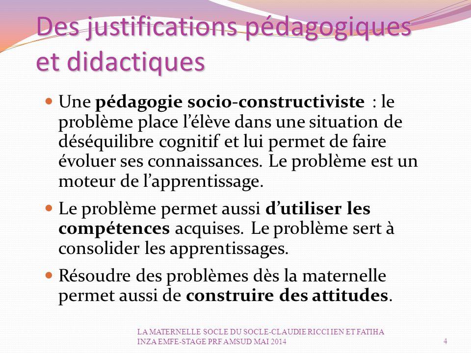 Des justifications pédagogiques et didactiques Une pédagogie socio-constructiviste : le problème place l'élève dans une situation de déséquilibre cognitif et lui permet de faire évoluer ses connaissances.