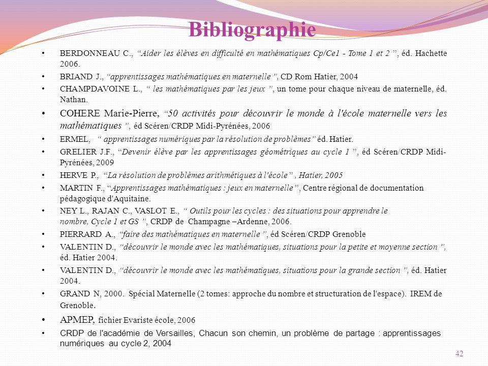 Bibliographie BERDONNEAU C., Aider les élèves en difficulté en mathématiques Cp/Ce1 - Tome 1 et 2 , éd.