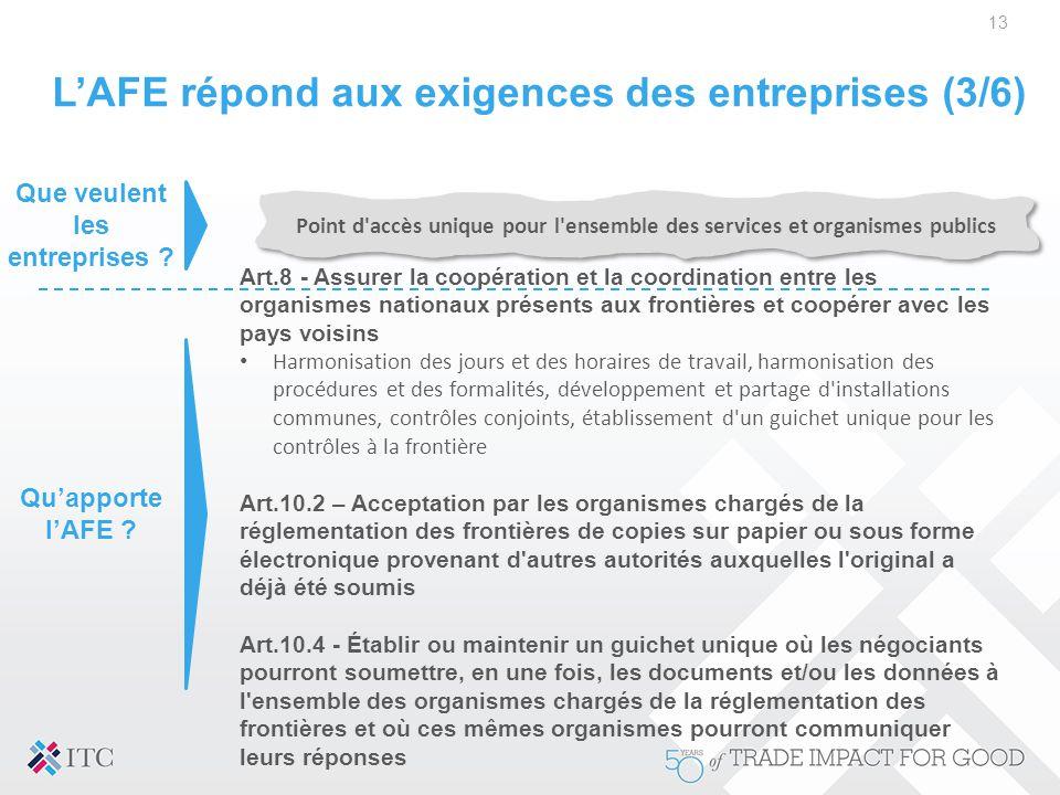 L'AFE répond aux exigences des entreprises (3/6) 13 Point d'accès unique pour l'ensemble des services et organismes publics Art.8 - Assurer la coopéra