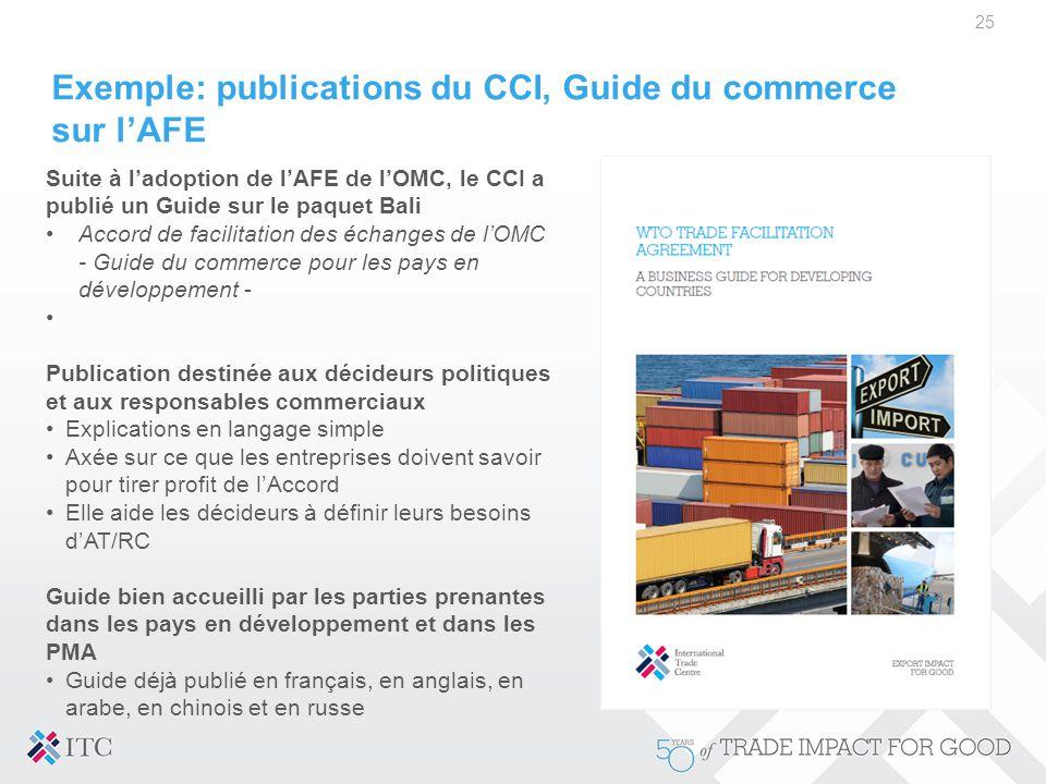 Exemple: publications du CCI, Guide du commerce sur l'AFE 25 Suite à l'adoption de l'AFE de l'OMC, le CCI a publié un Guide sur le paquet Bali Accord