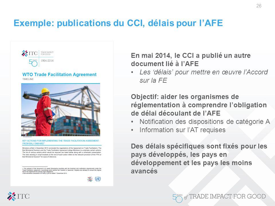 Exemple: publications du CCI, délais pour l'AFE 26 En mai 2014, le CCI a publié un autre document lié à l'AFE Les 'délais' pour mettre en œuvre l'Acco