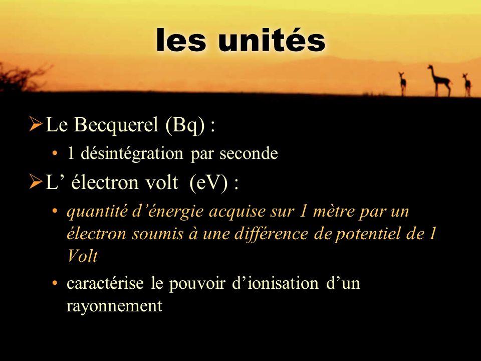 les unités  Le Becquerel (Bq) : 1 désintégration par seconde  L' électron volt (eV) : quantité d'énergie acquise sur 1 mètre par un électron soumis