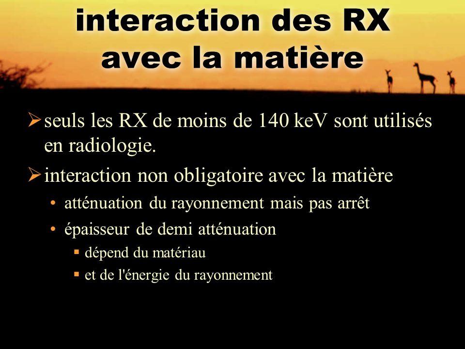 interaction des RX avec la matière  seuls les RX de moins de 140 keV sont utilisés en radiologie.  interaction non obligatoire avec la matière attén