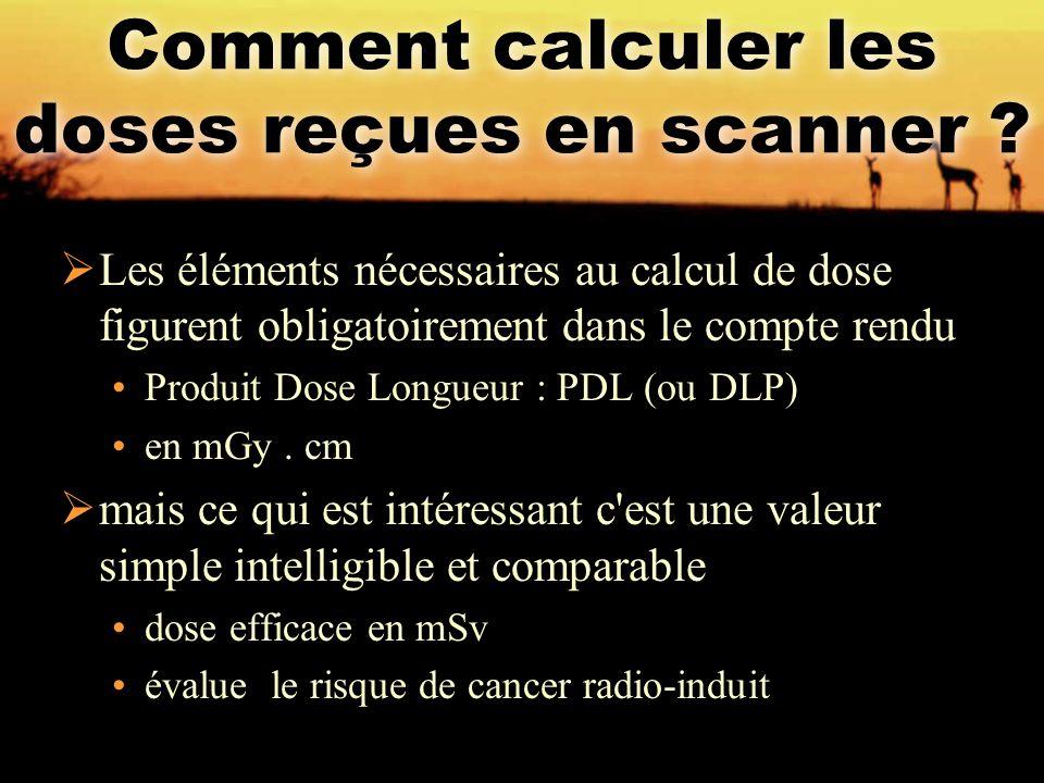  Les éléments nécessaires au calcul de dose figurent obligatoirement dans le compte rendu Produit Dose Longueur : PDL (ou DLP) en mGy. cm  mais ce q