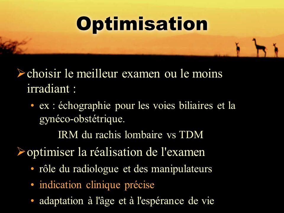 Optimisation  choisir le meilleur examen ou le moins irradiant : ex : échographie pour les voies biliaires et la gynéco-obstétrique. IRM du rachis lo
