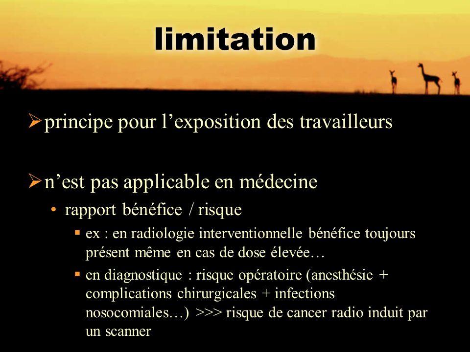 limitation  principe pour l'exposition des travailleurs  n'est pas applicable en médecine rapport bénéfice / risque  ex : en radiologie interventio