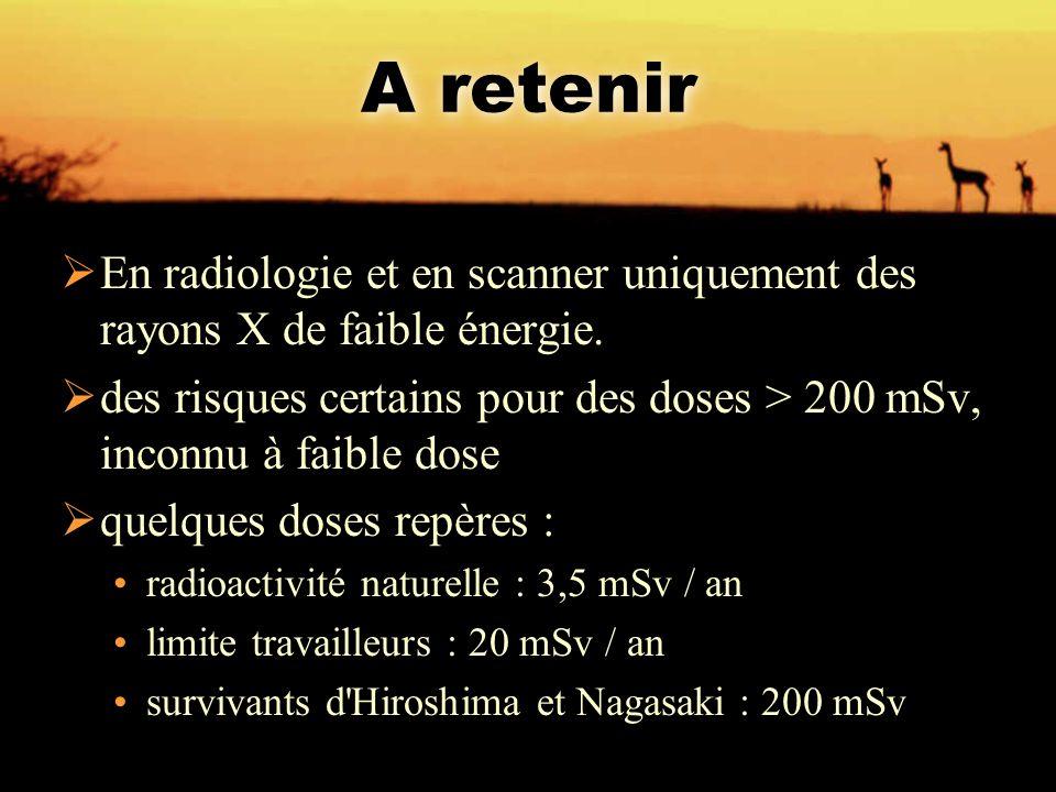 A retenir  En radiologie et en scanner uniquement des rayons X de faible énergie.  des risques certains pour des doses > 200 mSv, inconnu à faible d