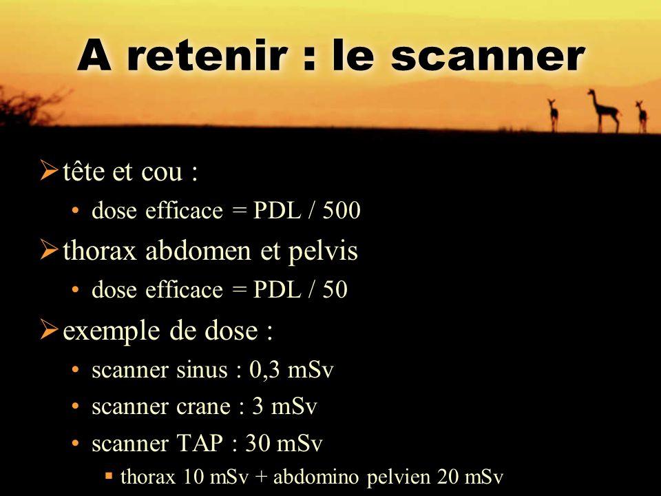 A retenir : le scanner  tête et cou : dose efficace = PDL / 500  thorax abdomen et pelvis dose efficace = PDL / 50  exemple de dose : scanner sinus