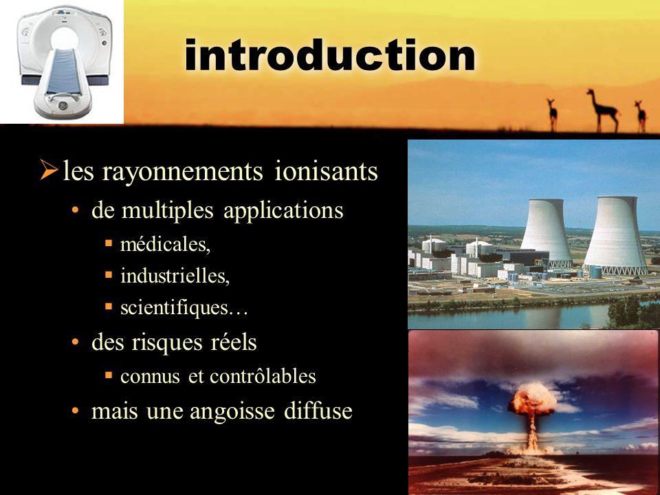 introduction  les rayonnements ionisants de multiples applications  médicales,  industrielles,  scientifiques… des risques réels  connus et contr