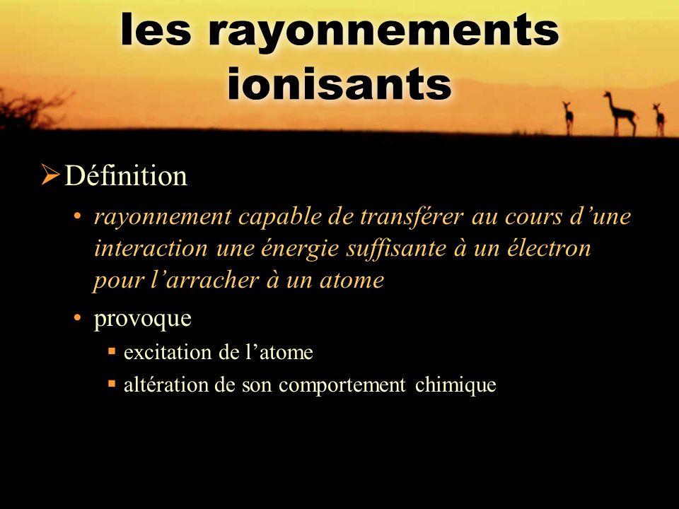 les rayonnements ionisants  Définition rayonnement capable de transférer au cours d'une interaction une énergie suffisante à un électron pour l'arrac