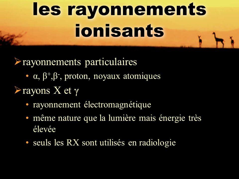 les rayonnements ionisants  rayonnements particulaires α, β +,β -, proton, noyaux atomiques  rayons X et γ rayonnement électromagnétique même nature