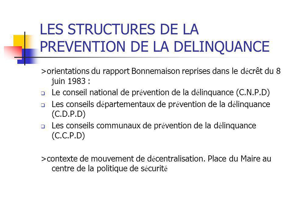 LES STRUCTURES DE LA PREVENTION DE LA DELINQUANCE >orientations du rapport Bonnemaison reprises dans le d é crêt du 8 juin 1983 :  Le conseil nationa